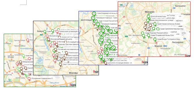 Карты миссионерского поля для викариатств и благочиний города Москвы